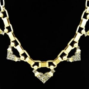 Stella & Dot Gold crystal pave Chevron necklace